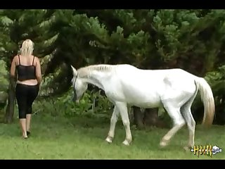 Cute Blonde Fucks Dildo And Sucks Horse (xxx animal hd )
